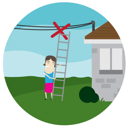 Woman holding ladder too close to overhead powerline